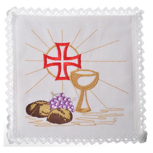 Servizio da messa 100% lino calice croce pane uva 1