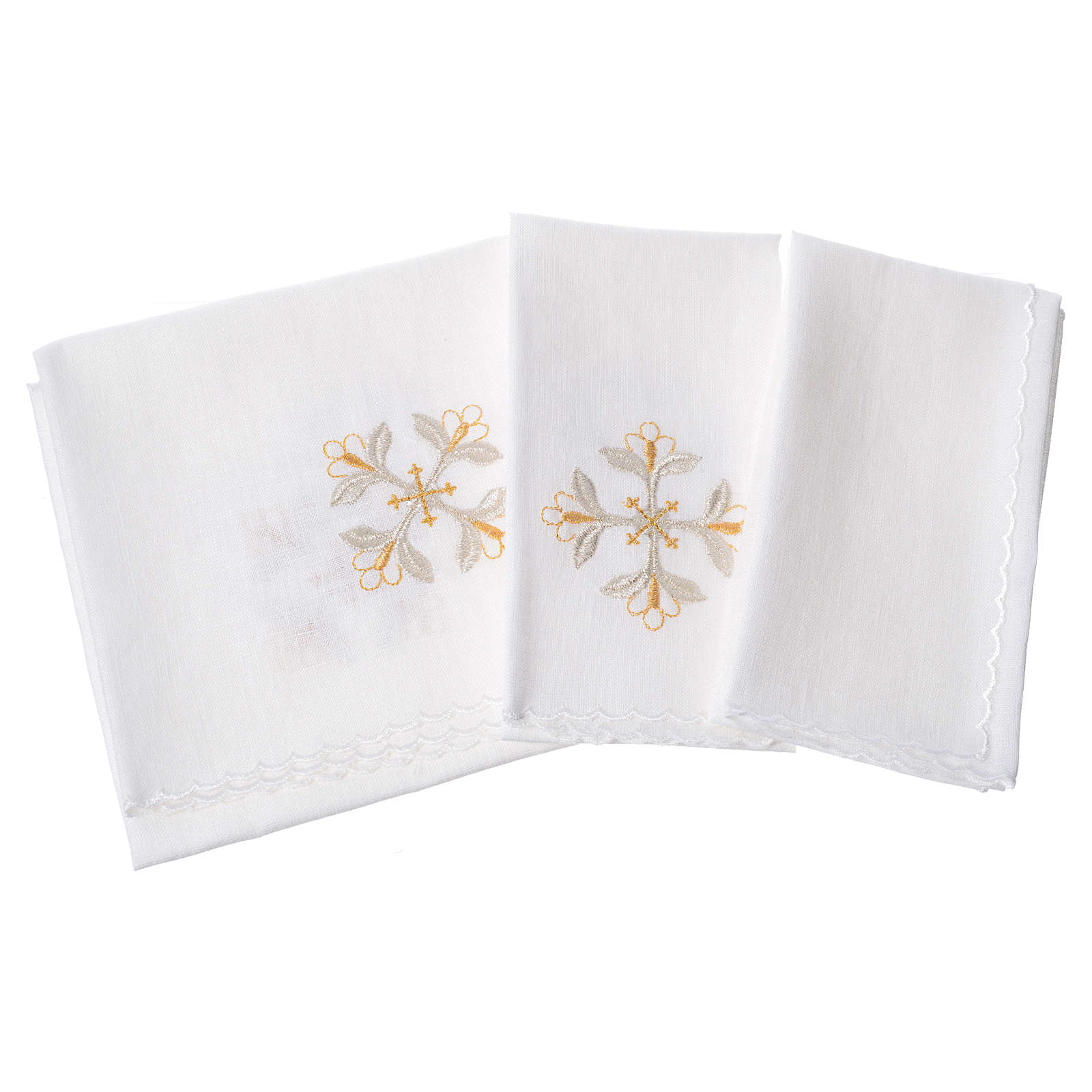 Altar linens set, 100% linen with cross and flowers 4