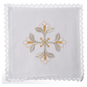 Altar linens set, 100% linen with cross and flowers s1