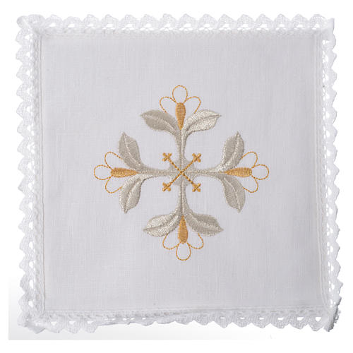 Altar linens set, 100% linen with cross and flowers 1