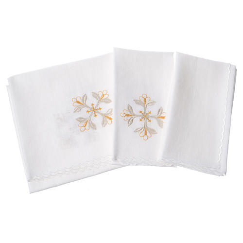 Altar linens set, 100% linen with cross and flowers 2