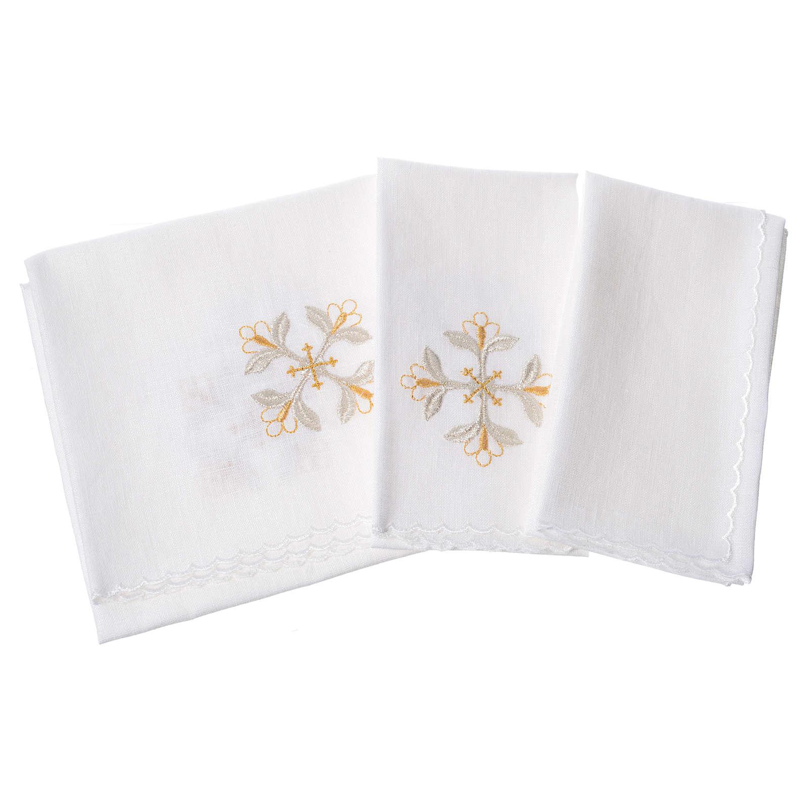Servizio da messa 100% lino croce con fiori 4