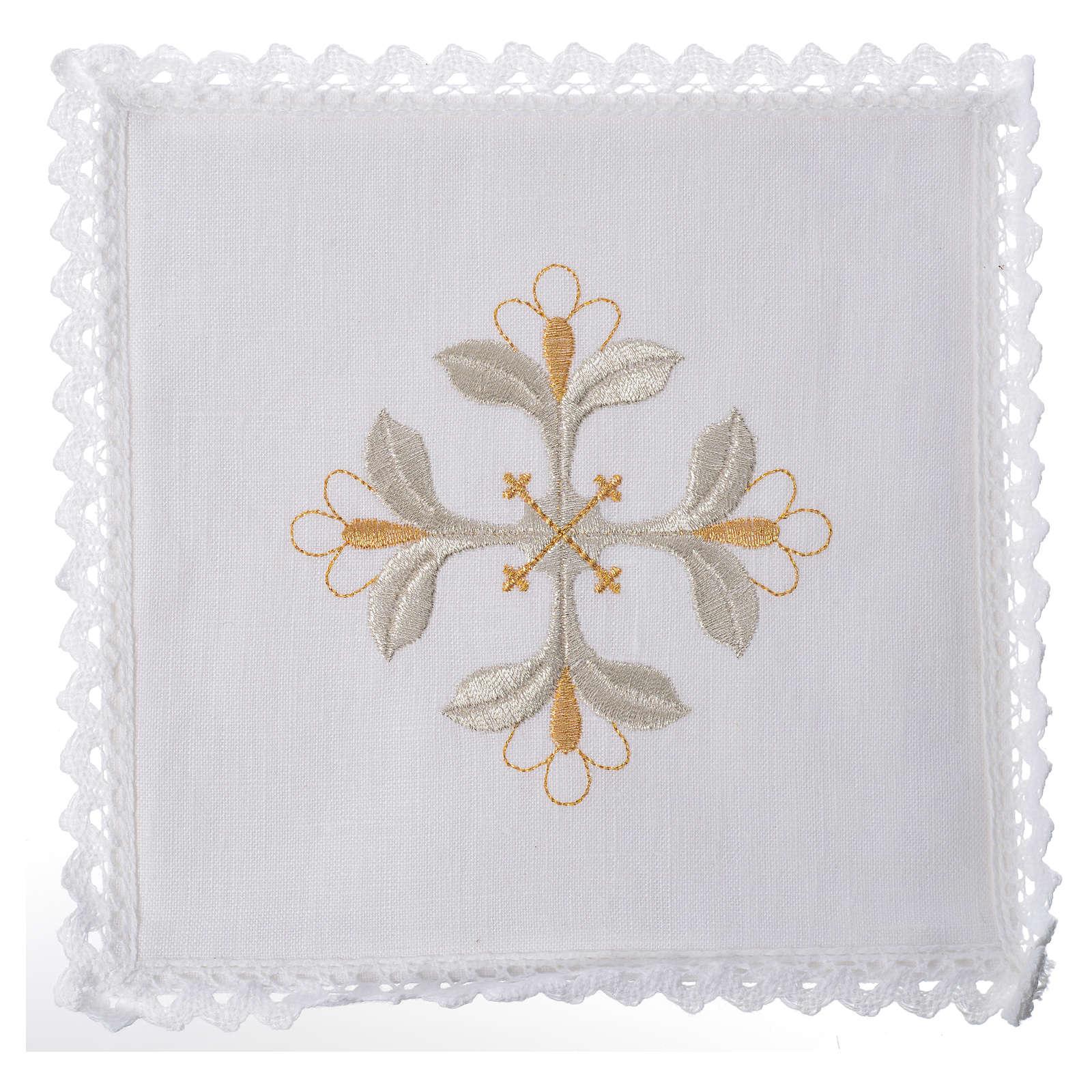 Conjunto alfaia litúrgica 100% linho cruz com flores 4