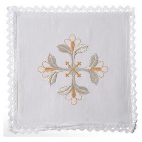 Conjunto alfaia litúrgica 100% linho cruz com flores s1
