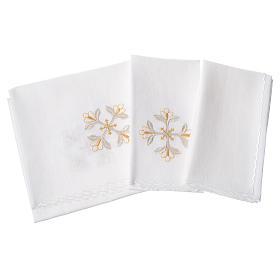 Conjunto alfaia litúrgica 100% linho cruz com flores s2