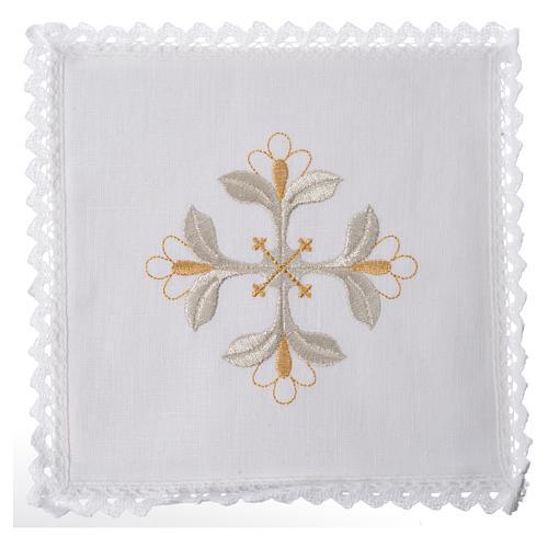 Conjunto alfaia litúrgica 100% linho cruz com flores 1