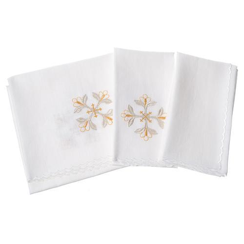 Conjunto alfaia litúrgica 100% linho cruz com flores 2