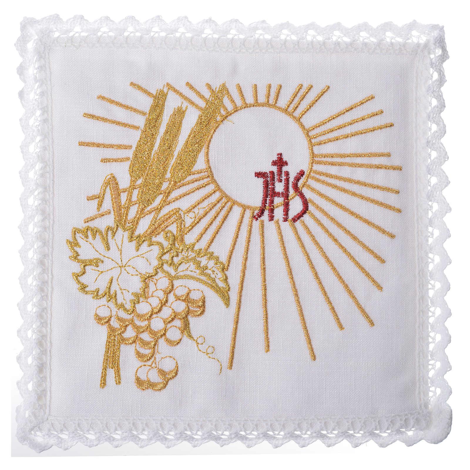 Linge d'autel Chi-Rho soleil épis raisin 100% lin 4