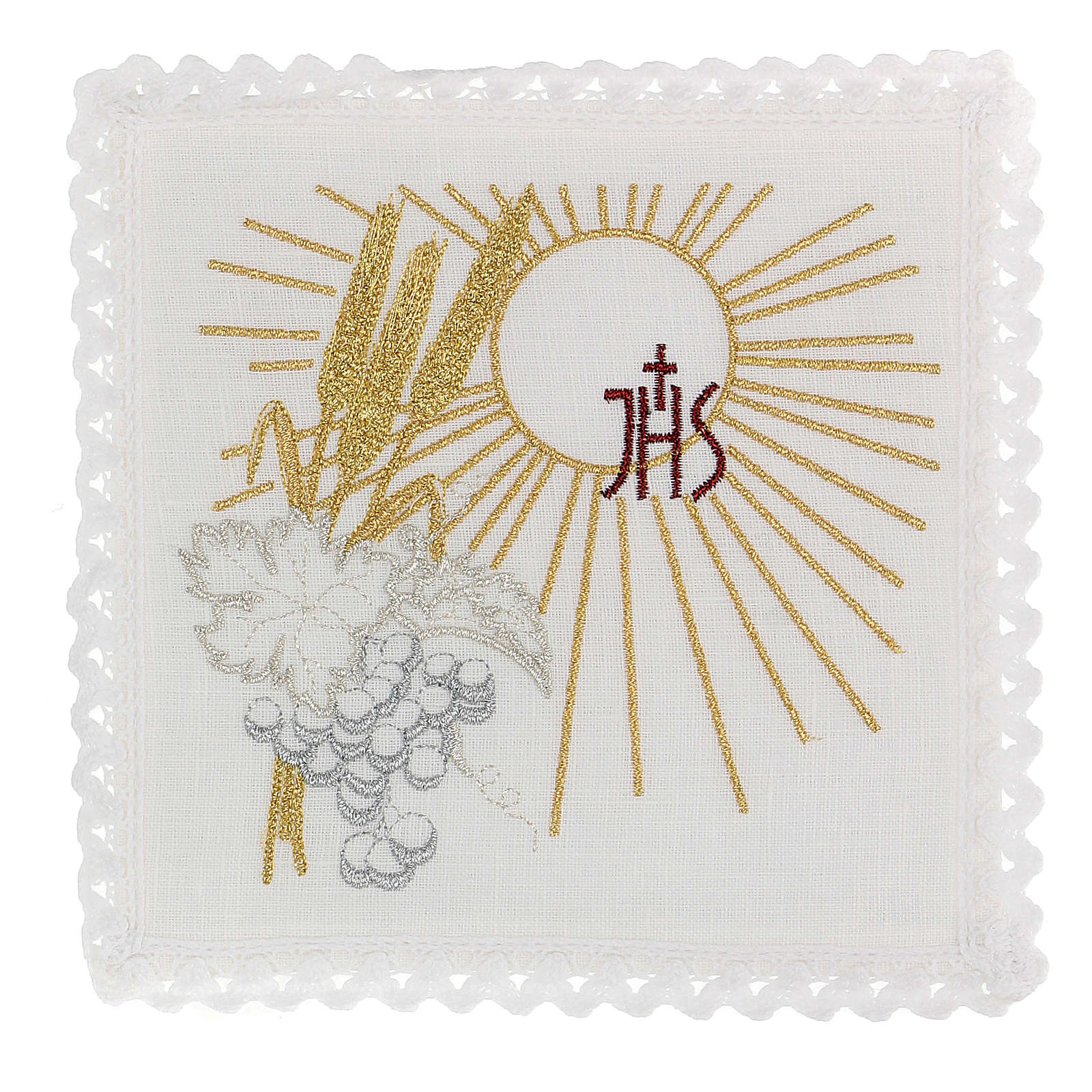 Servizio da altare 100% lino IHS sole spighe uva 4