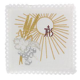 Servizio da altare 100% lino IHS sole spighe uva s1