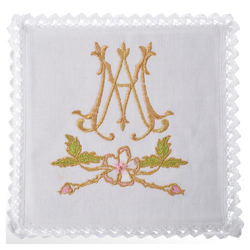 Servizio da altare 100% lino simbolo mariano 1