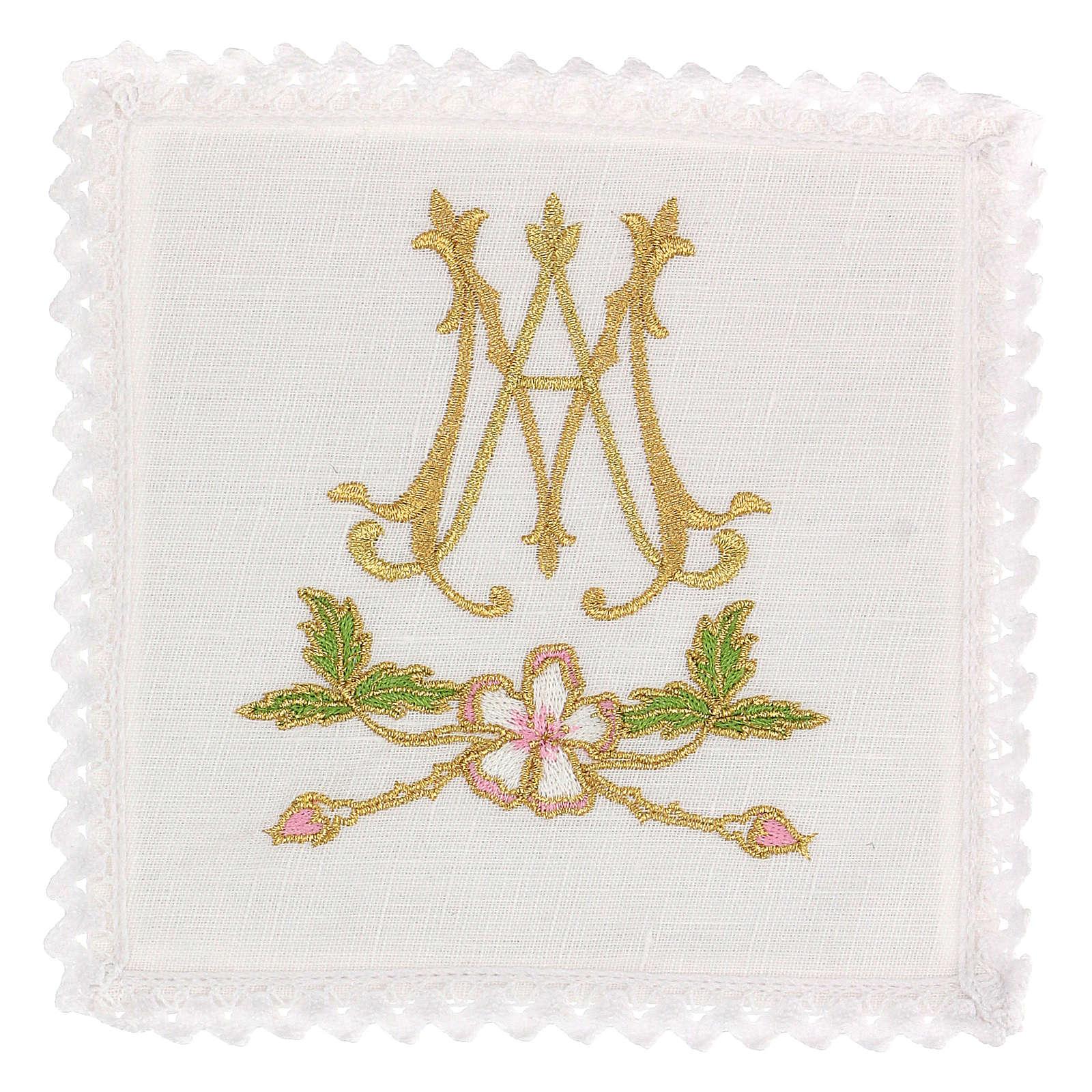 Conjunto alfaia litúrgica 100% linho símbolo mariano 4