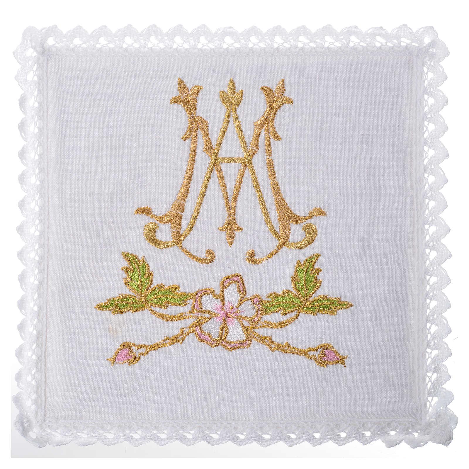 Altar linens set, 100% linen with Marian symbol 4
