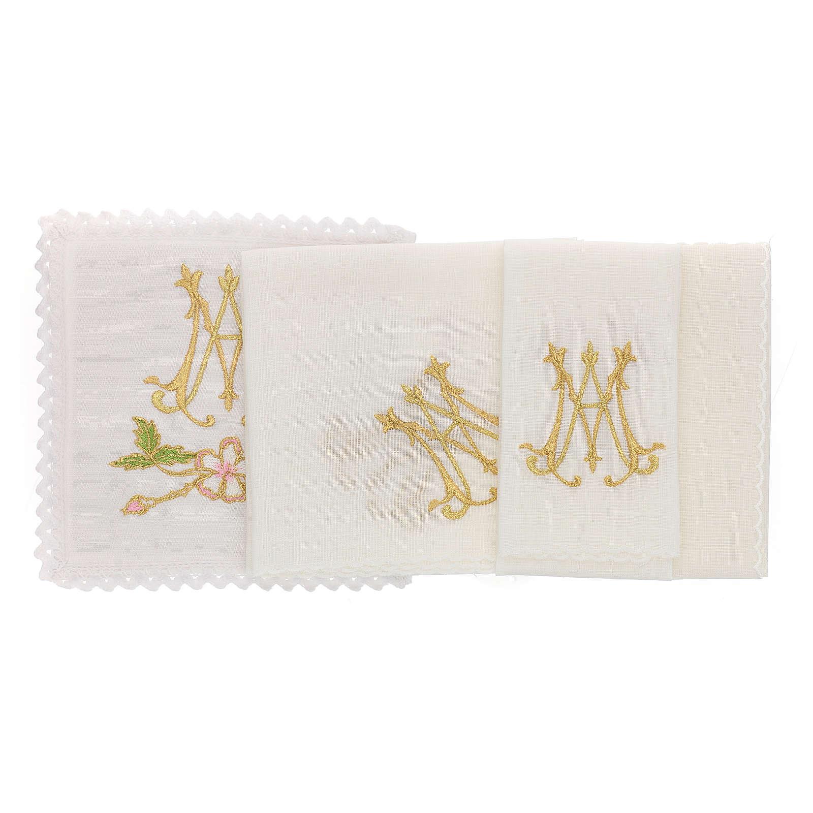 Altar linen set, 100% linen with Marian symbol 4