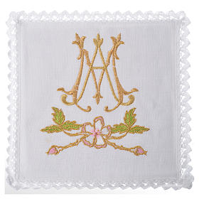Altar linens set, 100% linen with Marian symbol s1