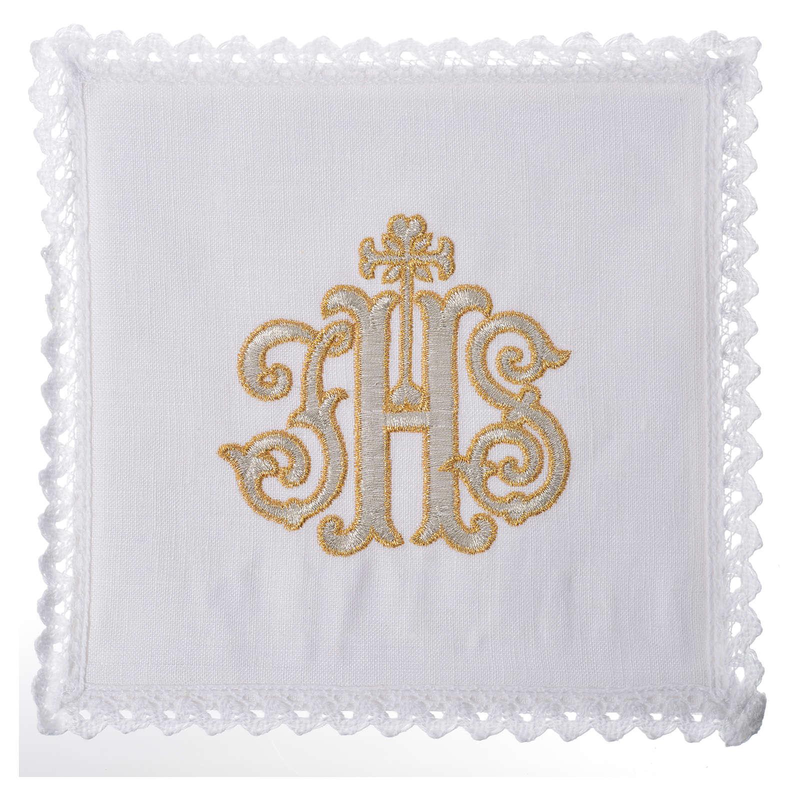 Servizio da altare 100% lino IHS decorato 4