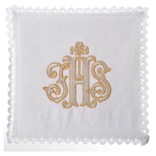Servizio da altare 100% lino IHS decorato 1