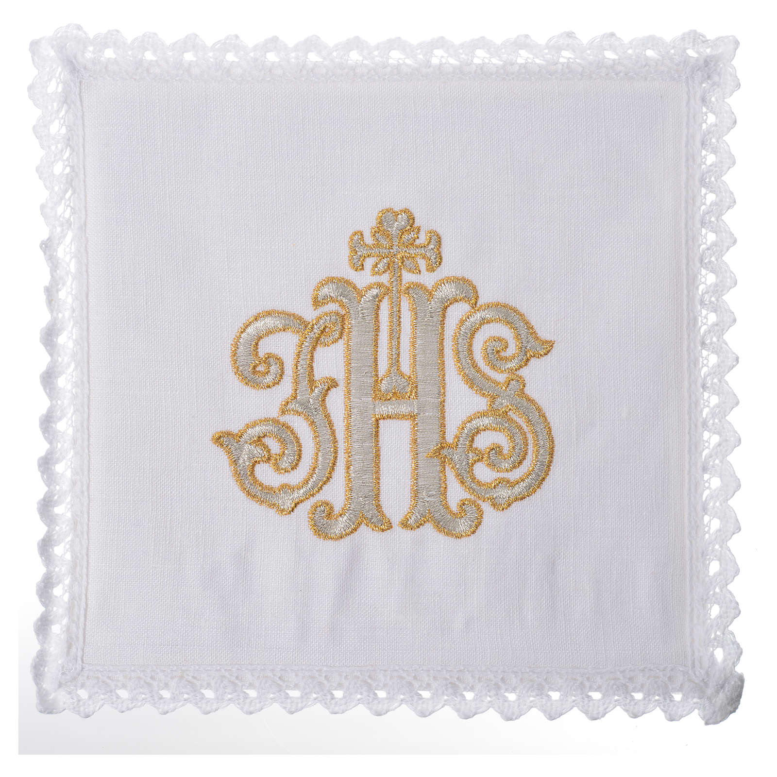 Altar linens set, 100% linen decorated with IHS 4