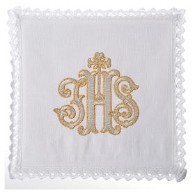 Altar linens set, 100% linen decorated with IHS s1