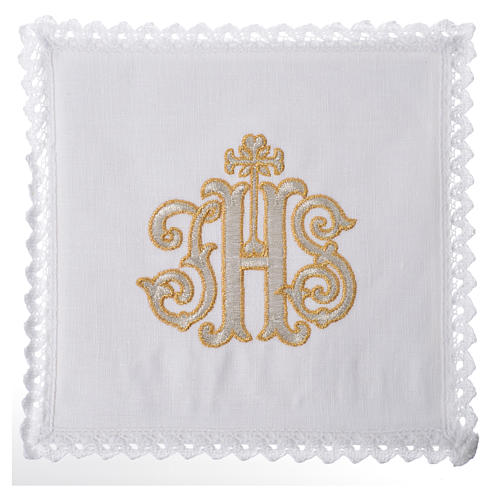 Altar linens set, 100% linen decorated with IHS 1