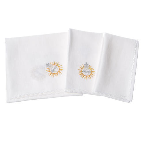Altar linens set, with Jesus Blessing 2