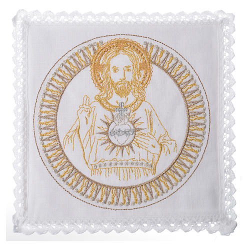 Servizio da altare 100% lino Gesù Benedicente 1