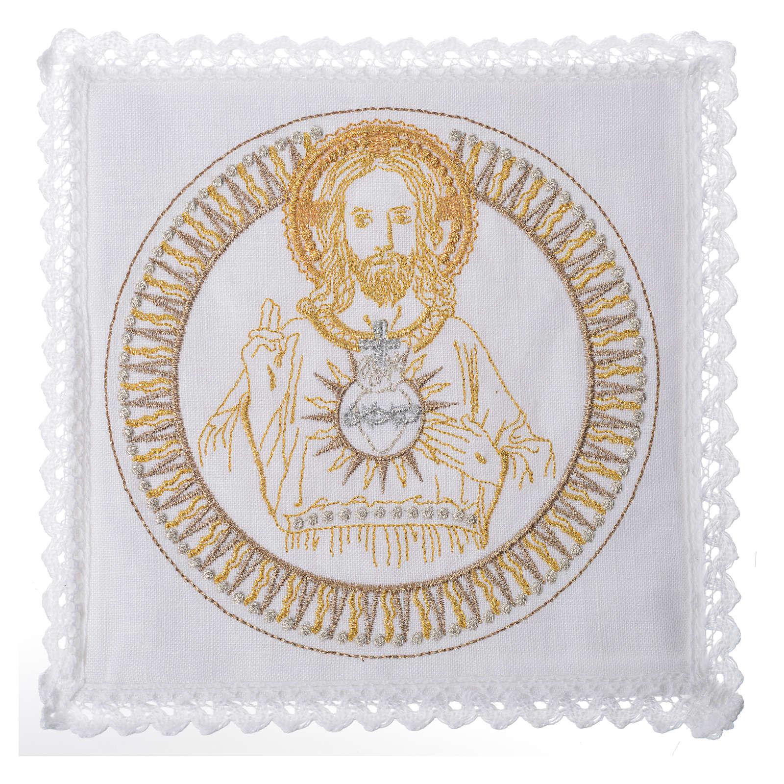 Conjunto alfaia litúrgica 100% linho Cristo abençoando 4