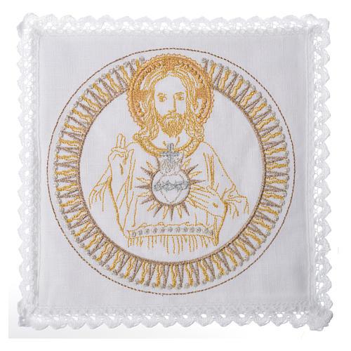 Conjunto alfaia litúrgica 100% linho Cristo abençoando 1
