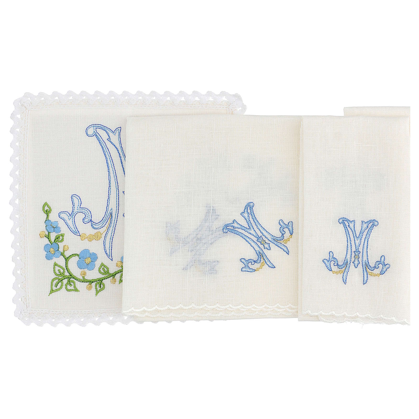 Altar linens set, with light blue Marian symbol 4