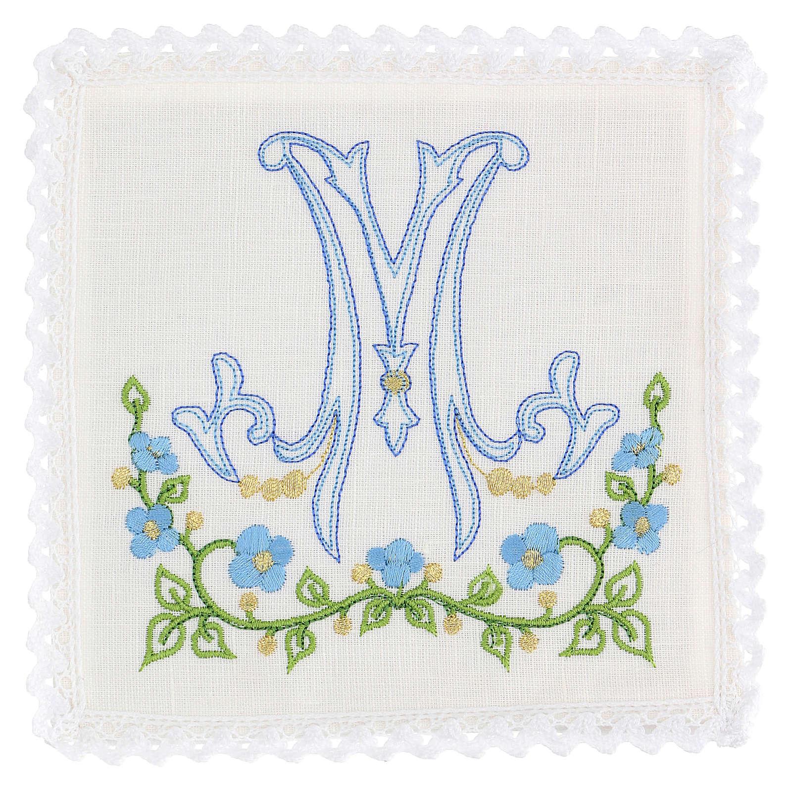 Juego completo 100% lino símbolo mariano azul 4
