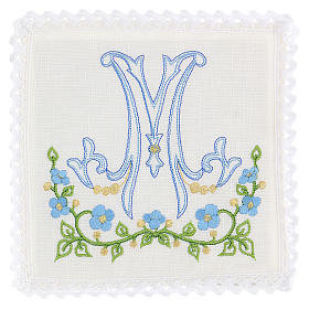 Service linge d'autel 100% lin symbole marial bleu s1