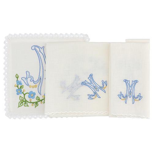 Service linge d'autel 100% lin symbole marial bleu 2