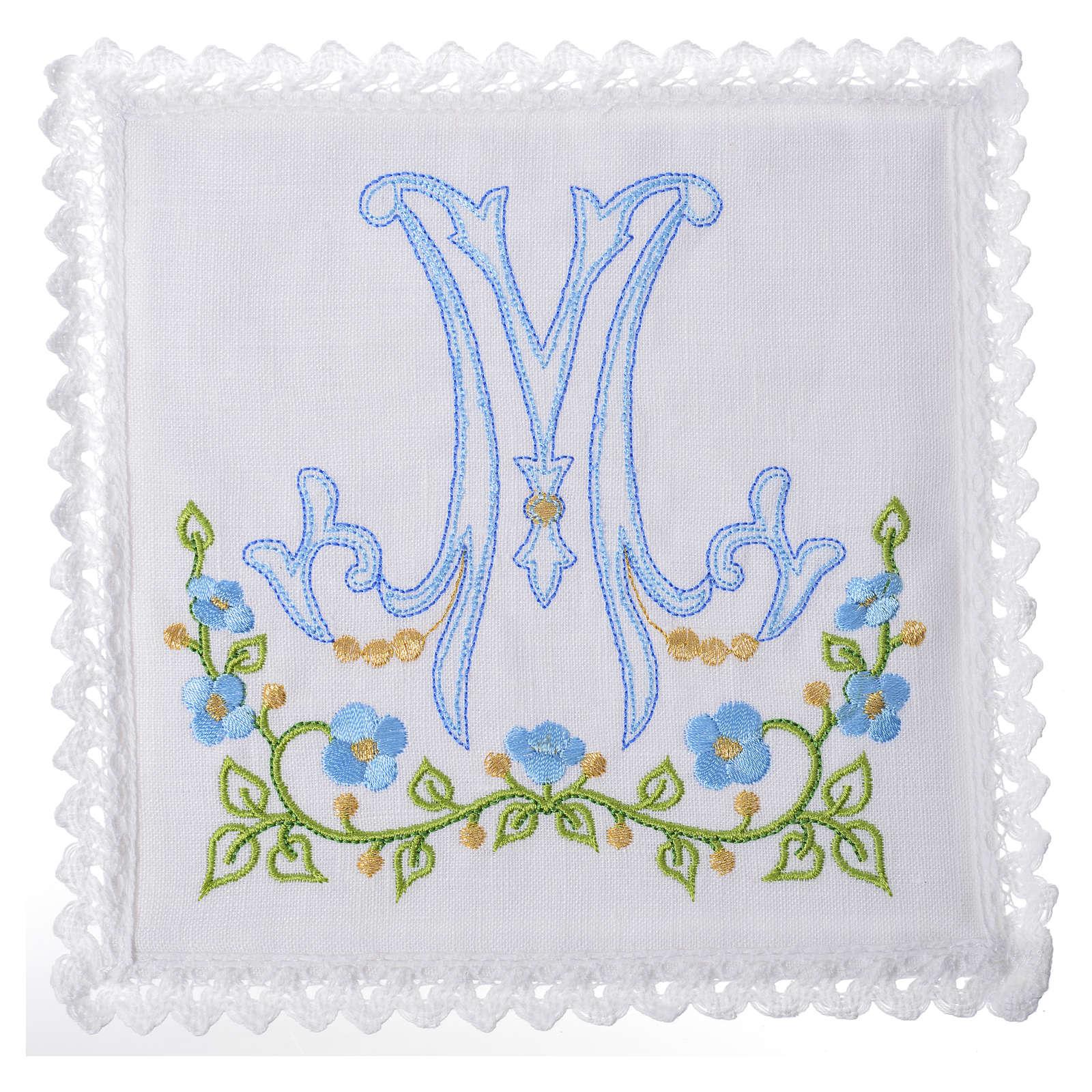 Servizio da altare 100% lino simbolo mariano azzurro 4