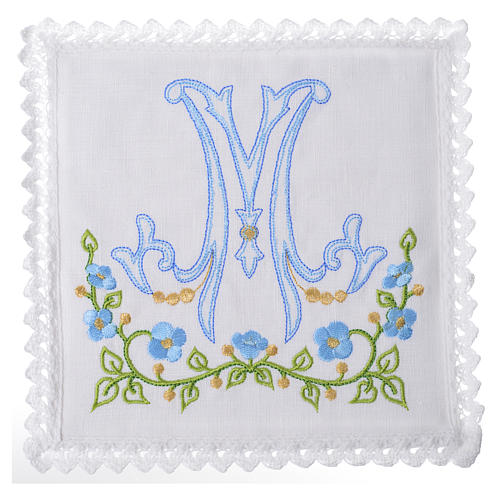 Servizio da altare 100% lino simbolo mariano azzurro 1