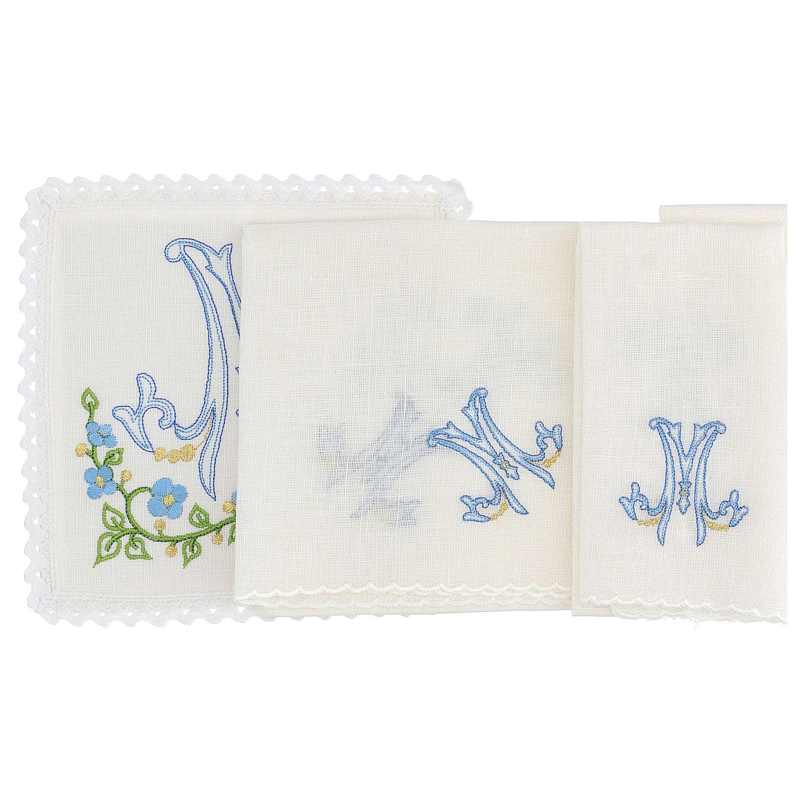 Conjunto alfaia litúrgica 100% linho símbolo mariano azul 4