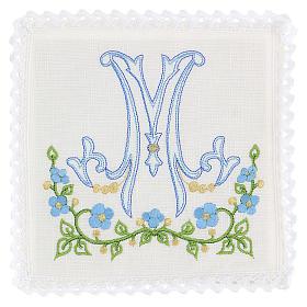 Conjunto alfaia litúrgica 100% linho símbolo mariano azul s1