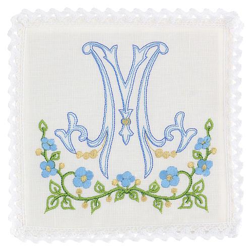 Conjunto alfaia litúrgica 100% linho símbolo mariano azul 1