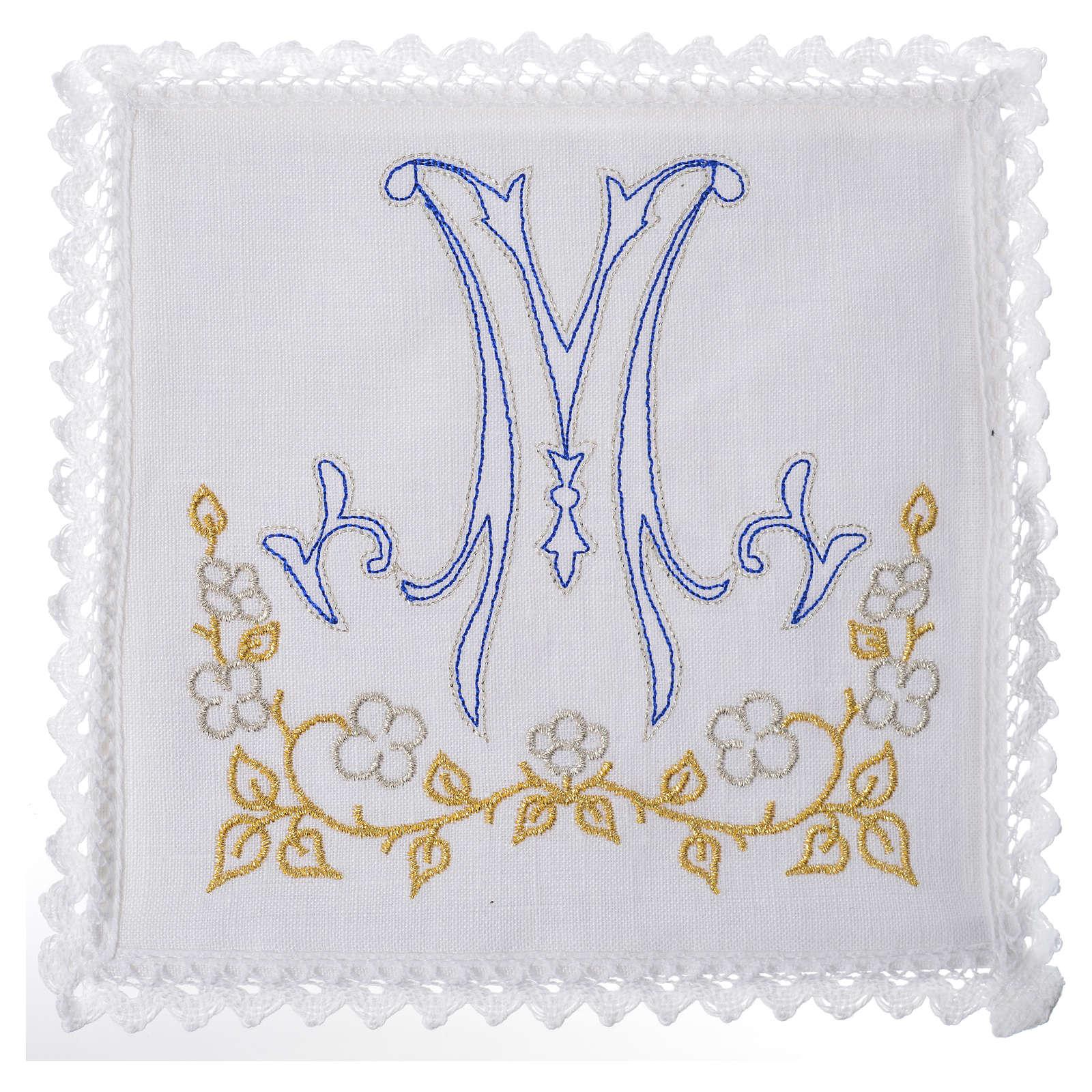 Servizio da altare 100% lino simbolo mariano blu 4