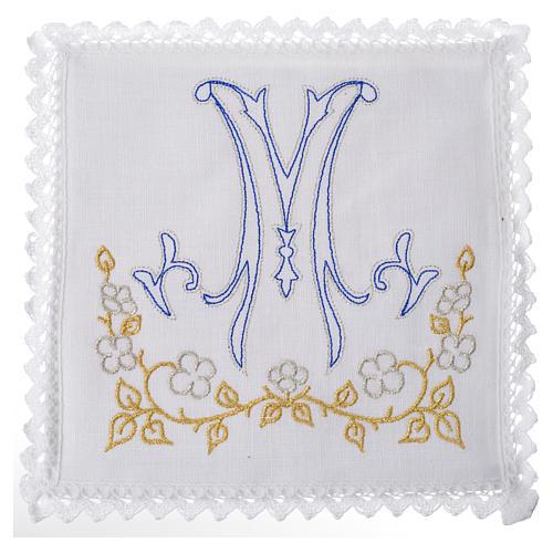 Servizio da altare 100% lino simbolo mariano blu 1