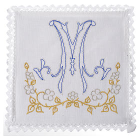 Altar linens set, with blue Marian symbol s1