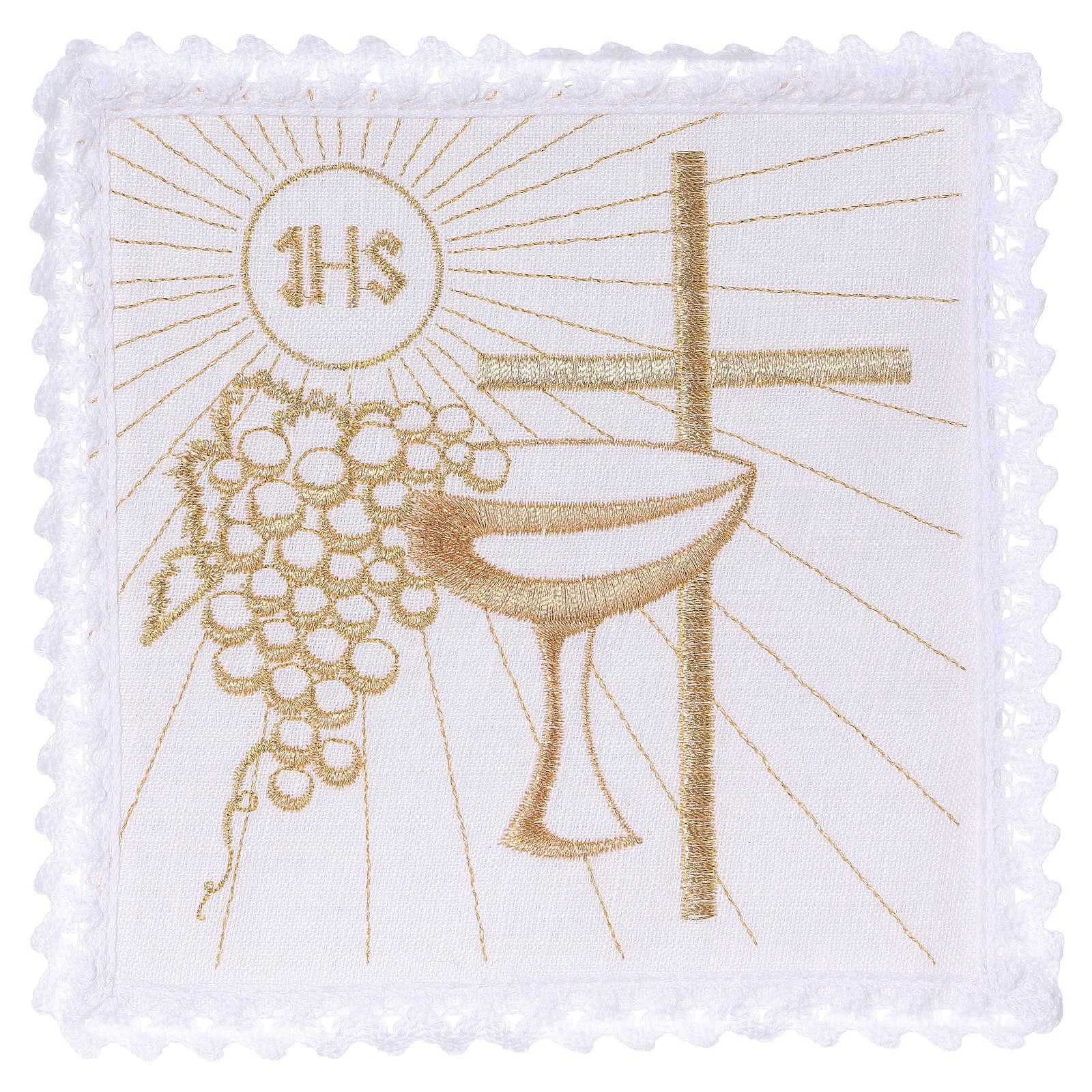 Servizio da altare 100% lino croce calice uva 4
