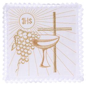 Servizio da altare 100% lino croce calice uva s1
