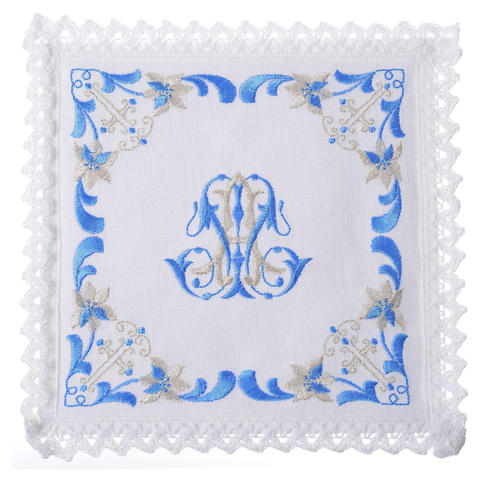 Conjunto de alfaia litúrgica 100% linho com símbolo mariano 4