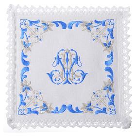 Conjunto de alfaia litúrgica 100% linho com símbolo mariano s1