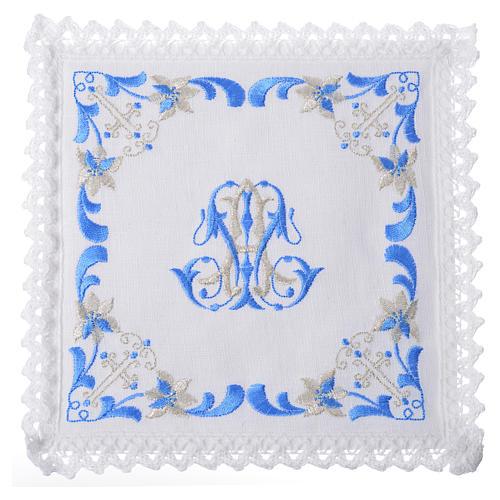 Conjunto de alfaia litúrgica 100% linho com símbolo mariano 1