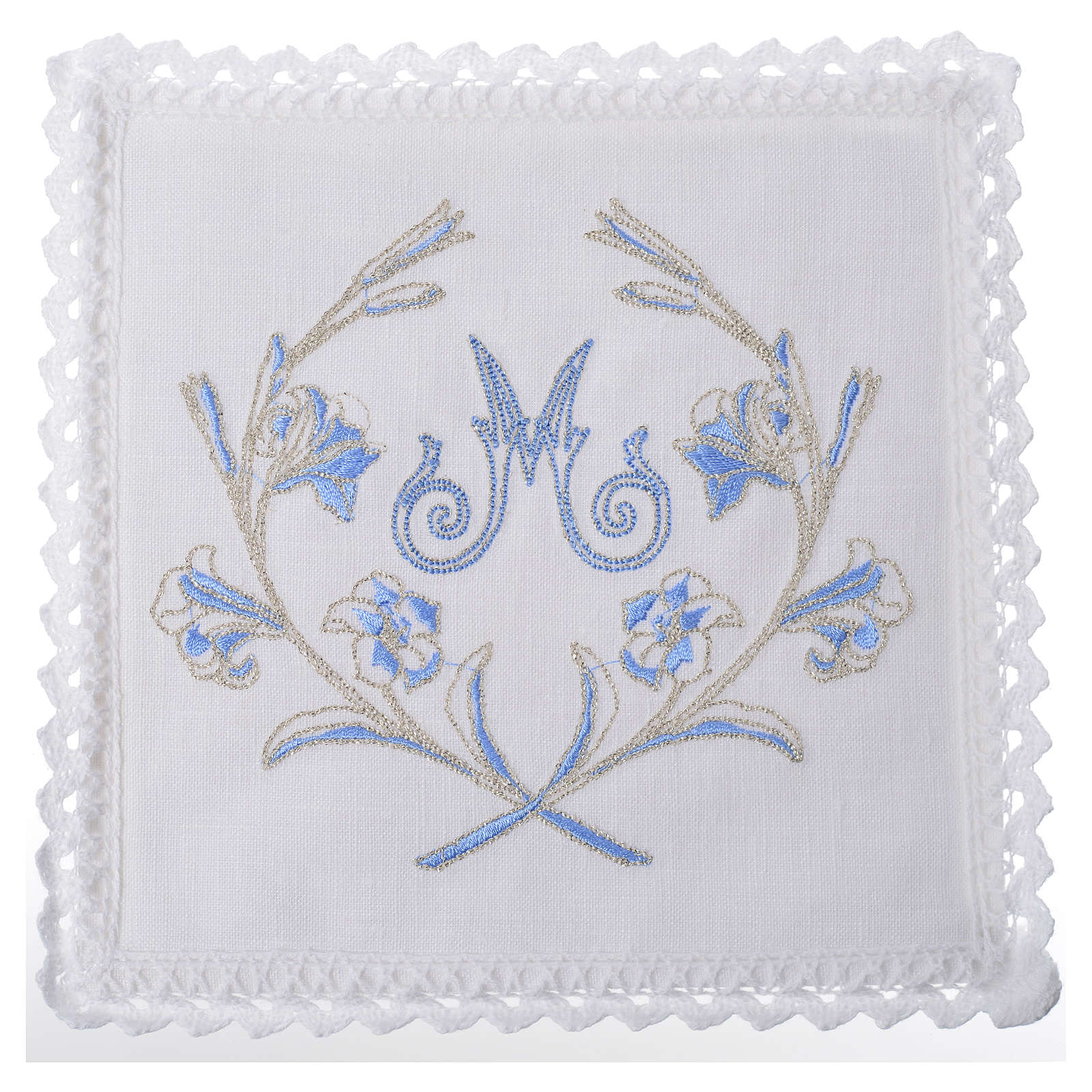 Altar linens set, with Marian symbol and decorations 4