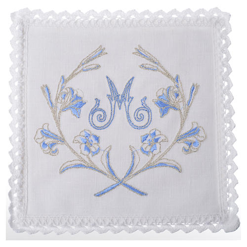 Altar linens set, with Marian symbol and decorations 1