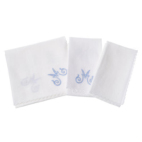 Altar linens set, with Marian symbol and decorations 2