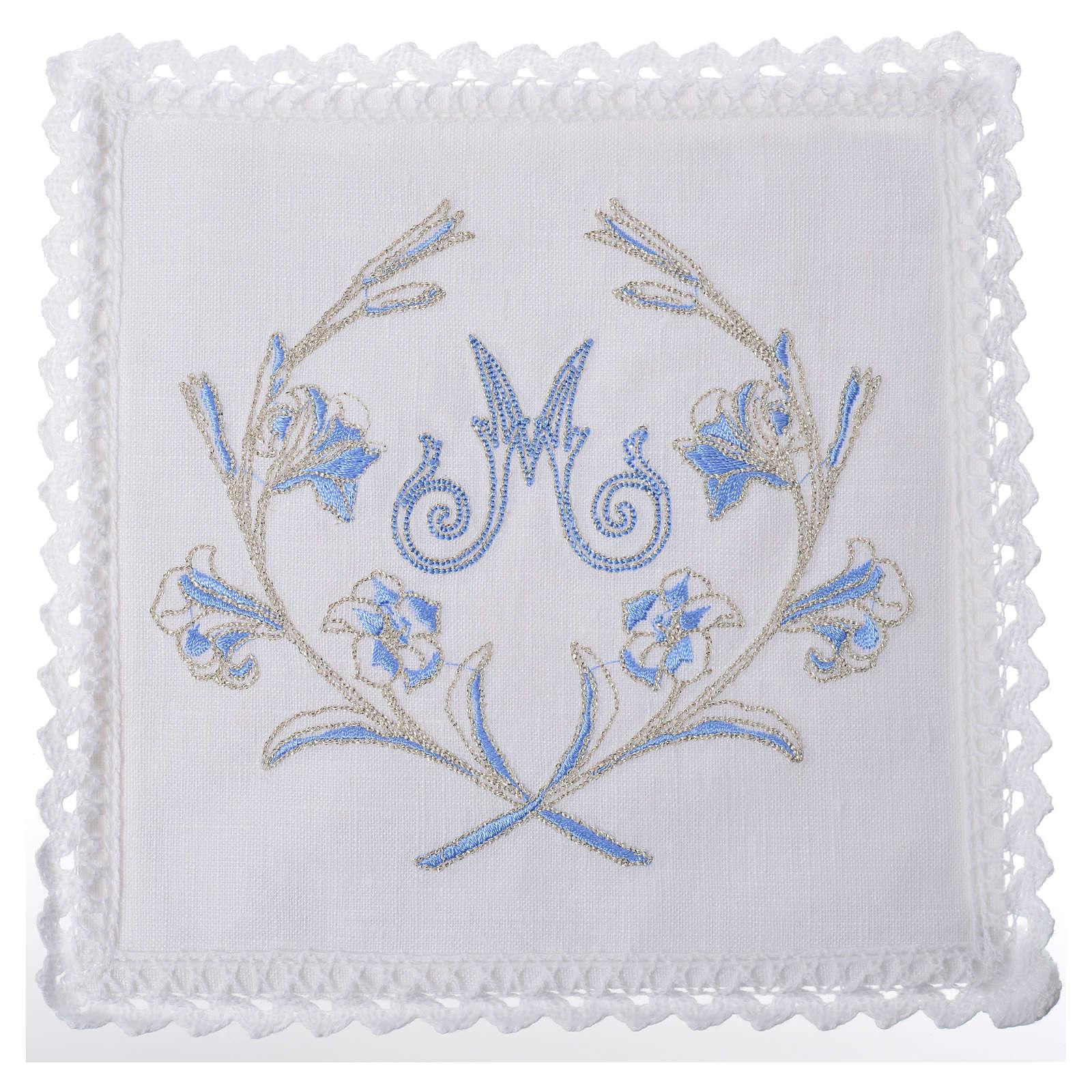 Servizio da altare 100% lino simbolo mariano con decori 4