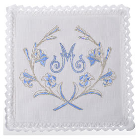 Servizio da altare 100% lino simbolo mariano con decori s1